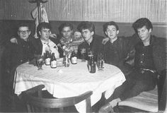 Everyone having a beer during their time off on September 28th 1960 in Hamburg, including under age 17 year old George.