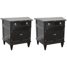 Pair of Mid-Century Nightstands Portor Marble Top Black Lacquer Wood | 1stdibs.com