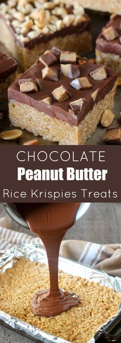 Chocolate Peanut Butter Rice Krispies Treats - Chewy peanut butter Rice Krispies® bars covered with a chocolate-butterscotch topping and finished with chopped peanuts or peanut butter cups. An easy no-bake recipe that is loved by adults and kids alike!