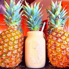 """I make smoothies for my brother everyday, today it was """"Piña Colada"""" Pinapple, Banana, & Coconut water, one of my favorite combinations! (Banana+pineapple is not considered proper food combining but it's so good that sometimes I have to break the rules)"""