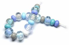 Lampwork glass 'Cool' beads by Laura Sparling