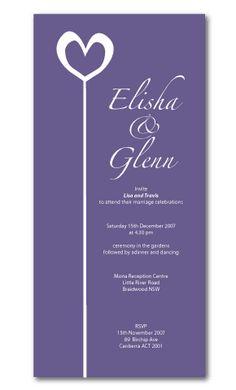 heart wedding invitations purple
