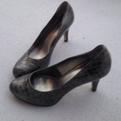 Heels Silverish /gray heels. Barely worn. Accepti all reasonable offers Anne Klein Shoes Heels