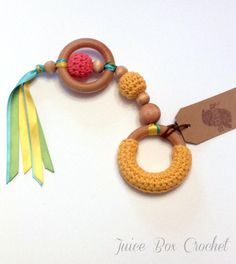 Crochet Baby Toy Crochet Teething Ring Waldorf by JuiceBoxCrochet