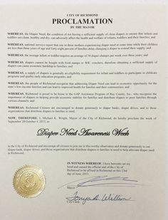 Richmond, MO - Mayoral proclamation recognizing Diaper Need Awareness Week (Sept. 28 - Oct. 4, 2015) #DiaperNeed www.diaperneed.org