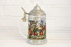 Vintage German Glass Beer Stein Tankard