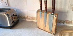 Glass Magnetic Knife Block | Bamboo Knife Holder