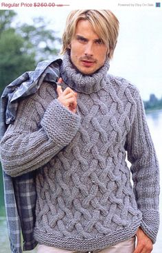 Items similar to Hand Knit Turtleneck Poncho with sleeves and buttons .Pick your color Made to order. Mens Cable Knit Sweater, Hand Knitted Sweaters, Warm Sweaters, Sweater Knitting Patterns, Hand Knitting, Men Sweater, Poncho With Sleeves, Handgestrickte Pullover, Ship