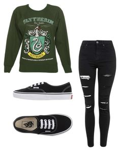 """""""Comment what hp house your in"""" by idontlikepepole ❤ liked on Polyvore featuring Topshop, Vans, women's clothing, women, female, woman, misses and juniors"""