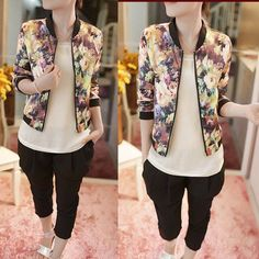 1PC Women Stand Collar Long Sleeve Zipper Floral Printed Bomber Jacket Excellent #NEW #Fashion