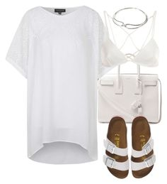 """""""Untitled #2225"""" by mariie00h ❤ liked on Polyvore featuring Topshop, Yves Saint Laurent, Birkenstock and Forever 21"""