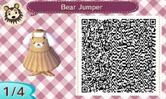 A little Kawaii bear dress, enjoy! Animal Crossing qr code  acnl