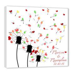 Fingerabdruck Leinwand als Hochzeitsspiel, Hochzeitsgeschenk und Hochzeitsgästebuch