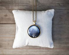 Navy Blue Pluto necklace - Pendant - Autumn jewelry (N091)