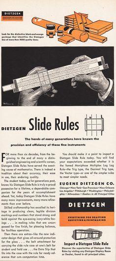 1951 SLIDE RULE Print Advertisement DIETZGEN by phorgotten