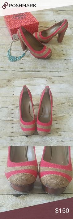 """Tory Birch Joelle High Heel Pump, with box earthy quality of linen and wood Tory Burch pump-played up with bold stripes and a platform. Patchwork-striped linen pump. Round toe ...  4"""" heel and 1"""" wooden platform, so feels like 3"""" heel. Good condition. Minor scuff on round toe (see photos) Tory Burch Shoes"""
