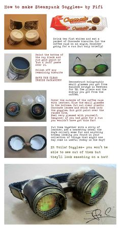 How to make Steampunk goggles! I find the instruction adorable!
