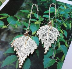 Silver Birch Leaf Threader Earrings Real Leaves by WoodSmith.  via Etsy.