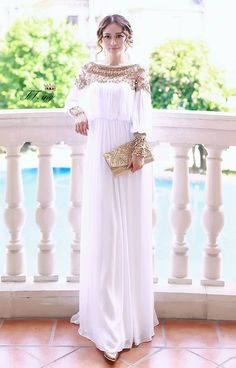 2015 new fashion luxury heavy beaded chiffon fancy dubai women kaftan abaya dress elegant long dress White-in Dresses from Women's Clothing & Accessories on Aliexpress.com | Alibaba Group