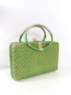edfd20d57485 60s Lime Bamboo Box Bag Bamboo Box