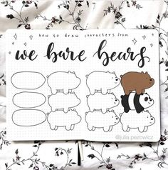 Easy Drawings We bare bears doodles by ig Bullet Journal Notebook, Bullet Journal Ideas Pages, Bullet Journal Inspiration, Cute Bear Drawings, Doodle Drawings, Easy Drawings, Simple Doodles, Cute Doodles, Easy Doodle Art