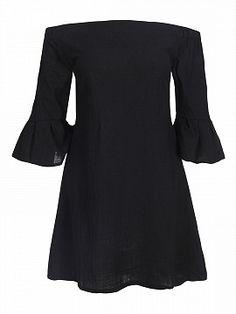 Black Off Shoulder Flared Sleeve Open Back Dress | Choies