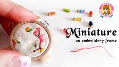 미니어쳐 원형 자수틀 만들기 (색실+바늘) MINIATURE an embroidery frame / 딩가의 회전목마 - YouTube