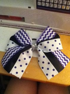 Purple,black, and white cheer bow! Pep rally bow...?