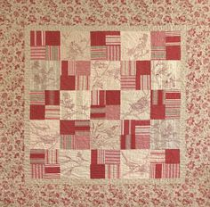 Crabapple Hill Studio, Flight of Fancy Redwork and quilting combined. French General fabric. Sooo pretty!