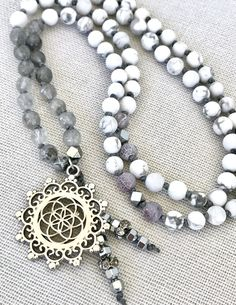 Mala necklace white grey mala necklace quartz howlite mala necklace seed flower pendant mala yoga mala meditation necklace flower of life by Katiaicrafts on Etsy