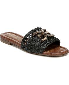 Sam Edelman Backer Raffia Logo Slide Sandals Women's Shoes In Black Sam Edelman Gigi, Black Shoes, Women's Shoes, Low Heels, Slide Sandals, Nordstrom, Logo, Clothing, Fashion