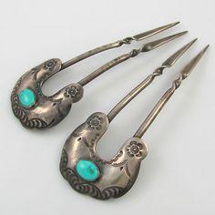Stamped Navajo hair pins