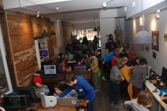 """MakerKids, in Roncesvalles (Toronto), bills itself as """"one of the first and only maker spaces for children."""" """"This is nothing like school,"""" says Erica Tiberia, a MakerKids instructor. Computer Programming Courses, Programming For Kids, Maker Culture, Toronto, Entertaining, Technology, Teaching, News, School"""