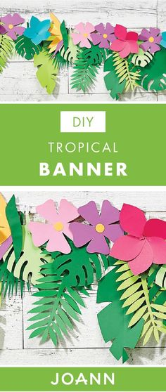 Set the stage for your summer party with this DIY Tropical Banner from JOANN. Vivid colors, palms, and ferns are all featured in this handmade paper wall decoration tutorial. (wall decoration with paper) Tropical Party Decorations, Tropical Decor, Paper Decorations, Tropical Furniture, Tropical Colors, Birthday Decorations, Diy Flowers, Paper Flowers, Thema Hawaii