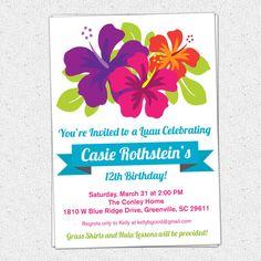Printable Luau Birthday Invitation, Summer, Party, Hibiscus Flowers, Hawaiian, Baby Bridal Shower,DIY Digital File www.OhCreativeOne.etsy.com