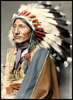 """""""Aging Rainbow"""". (Colorized Photo). (Antique photo of Native American)"""