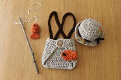 Baby Fisherman Photo Prop Outfit. Newborn Crochet by KirstsKorner, $32.00