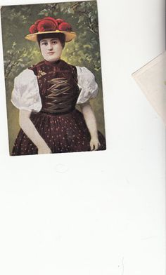 1910 Pretty Woman With Unusual Costume And Straw Hat W Red Pom Poms European Postcard