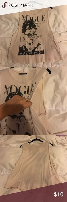🌖VOGUE cutoff Super interesting cut off shirt I got in San Fransisco!! Very light and thin and rocker chic in my opinion Tops Muscle Tees