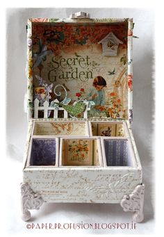 Altered Idea-ology box using Graphic 45 'Secret Garden' papers