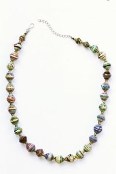 Amani Recycled Paper Bead Necklace at www.theecotopia.com