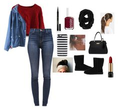 """""""FallTober#5: """"Risking it with bold red"""""""" by whoareyouiris ❤ liked on Polyvore featuring Chicwish, J Brand, UGG Australia, Essie, Elizabeth Arden, Old Navy, Kate Spade, Tasha, Lancôme and thestruggleisreal"""