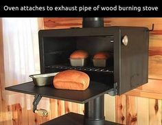 Oven Attaches To Pipe Of Wood Burning Stove - Cozy Homes Life Wood Stove Cooking, Kitchen Stove, Stove Oven, Wood Stove Hearth, Stove Fireplace, Wood Stove Wall, Tiny House Wood Stove, Rocket Stoves, Foyers