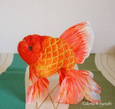 Solid gold art felted goldfish by deme tyoubi fish for Solid gold fish