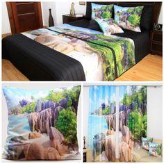 Dekoračný set do spálne s plážou pri brehu mora a s tropickým lesom Bed, Table, Furniture, Home Decor, Decoration Home, Stream Bed, Room Decor, Tables, Home Furnishings