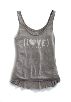 8351b9405d7de Tin Haul Womens Collection Gray 100% Rayon Jersey Knit Tank Top Love