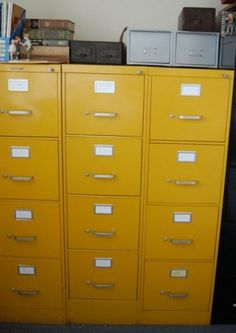 Vintage Bright Yellow Metal Steelcase File Cabinet by msmenimo eclectic filing cabinets and carts