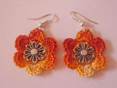 Cercei floare - crocheted flower earring
