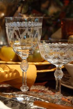 Vintage Glassware adds an elegant to touch to a lavish Thanksgiving Table. This table has etched crystal stemware alongside brown transferware for a traditional look. ~ Mary Walds Place - Today's Treasure by Jen: Festive Hunt Table and Photo Shoot
