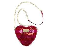 Betsey Johnson Be My Valentine Heart Striped Sequin Cross Body Purse Chain Strap